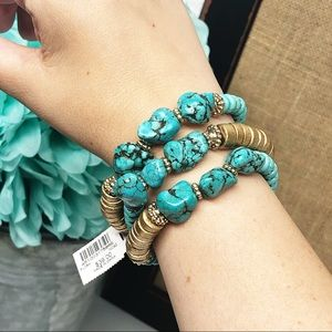 Chico's • Flora Turquoise & Gold Stretch Bracelets